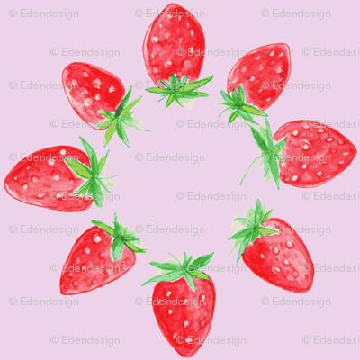 Blooming strawberries in lavender