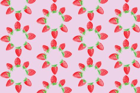 Blooming strawberries in lavender fabric by edendesign on Spoonflower - custom fabric