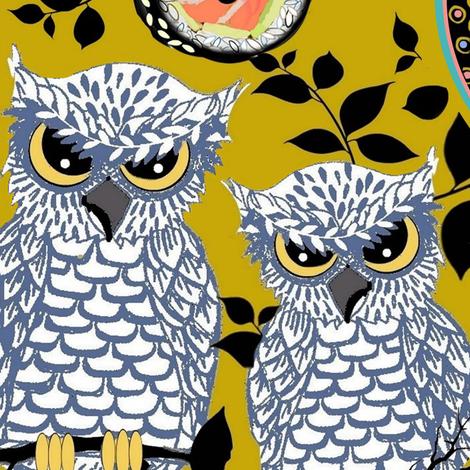Halloween Owls & kawaii sushi, Weird fabric by magentarosedesigns on Spoonflower - custom fabric