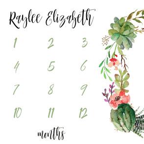 Raylee Elizabeth // Cactus Succulents Baby Milestone Blanket