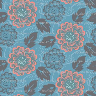 vintage floral  - cerulean blue, large