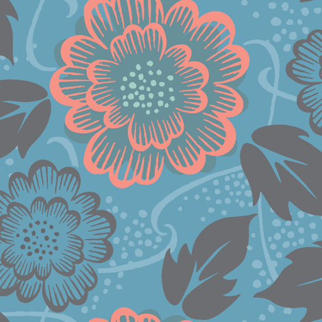 vintage floral  - cerulean blue, large fabric by studiojenny on Spoonflower - custom fabric