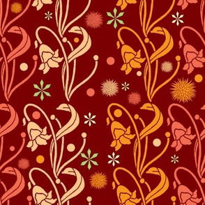 Art Nouveau Flowers In Red