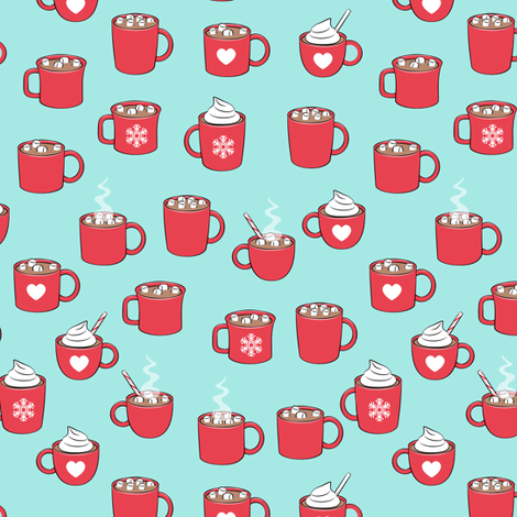 (small scale) hot cocoa - hot chocolate - red on light aqua fabric by littlearrowdesign on Spoonflower - custom fabric