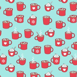 (small scale) hot cocoa - hot chocolate - red on light aqua