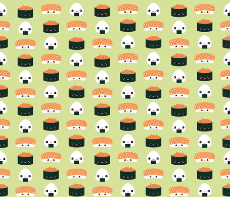 Salmon Dreams in wasabi, small fabric by joanandrose on Spoonflower - custom fabric
