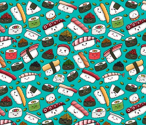 Kawaii Sushi And Edamame On Teal Wallpaper Artistkierstan