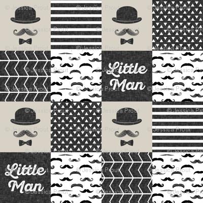 mustache wholecloth - dapper trio beige