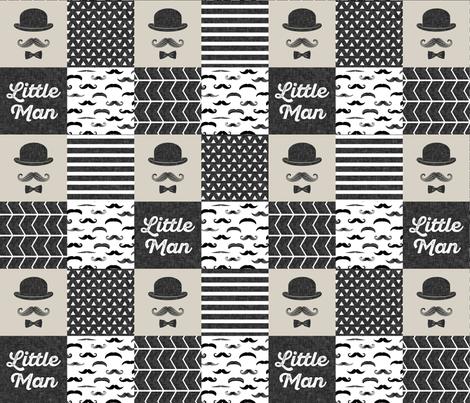 mustache wholecloth - dapper trio beige fabric by littlearrowdesign on Spoonflower - custom fabric