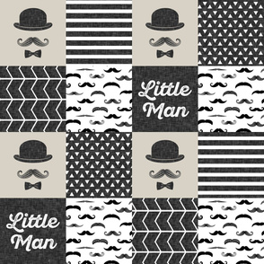 mustache wholecloth - dapper trio beige