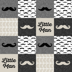 mustache wholecloth - little man beige