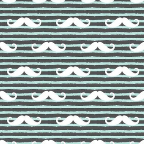 mustache on stripes - paramour blue and charcoal