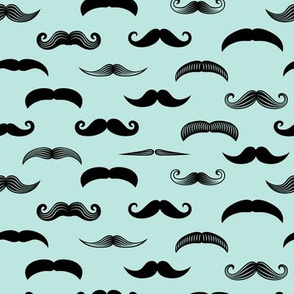 mustaches  - black on paramour blue