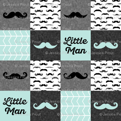 mustache wholecloth patchwork in paramour blue