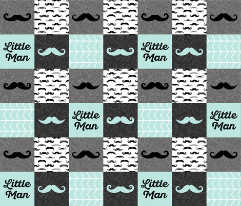 mustache wholecloth patchwork in paramour blue fabric by littlearrowdesign on Spoonflower - custom fabric