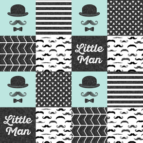 little man mustache wholecloth - dapper trio paramour blue
