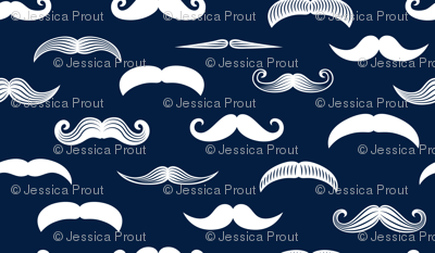 mustaches on navy