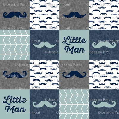 little man wholecloth - mustaches in navy and dusty blue