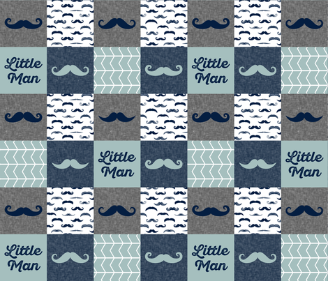 little man wholecloth - mustaches in navy and dusty blue fabric by littlearrowdesign on Spoonflower - custom fabric