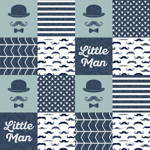 little man wholecloth - navy and dusty blue - dapper trio