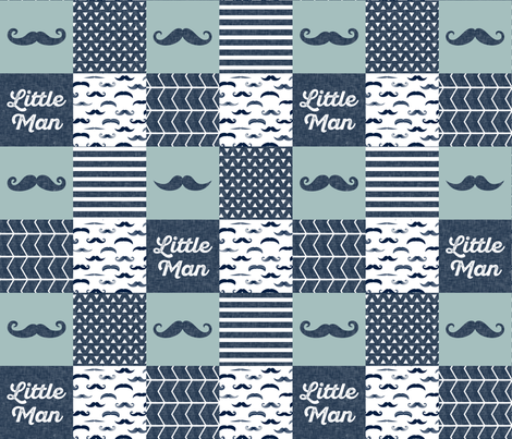 mustache patchwork quilt top - navy and dusty blue fabric by littlearrowdesign on Spoonflower - custom fabric
