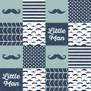 mustache patchwork quilt top - navy and dusty blue