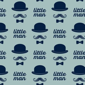 little man - mustache on dusty blue