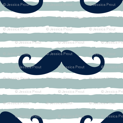 mustaches on stripes - navy and dusty blue
