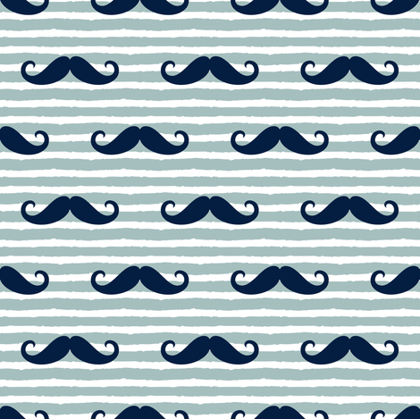 mustaches on stripes - navy and dusty blue fabric by littlearrowdesign on Spoonflower - custom fabric