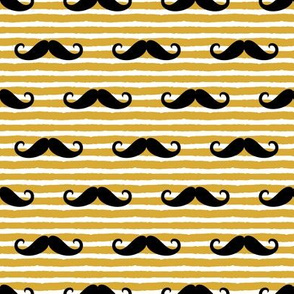 mustache on stripes - black on crown gold