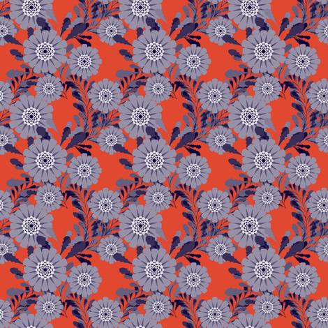 muted zinnias red fabric by abbieuproot on Spoonflower - custom fabric