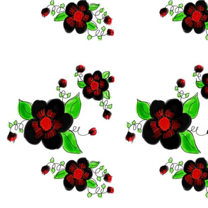 Red And Black Stunning Art Floral