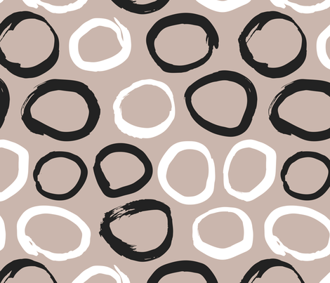 Raw brush ink circles abstract Scandinavian style print black and white gender neutral beige fabric by littlesmilemakers on Spoonflower - custom fabric