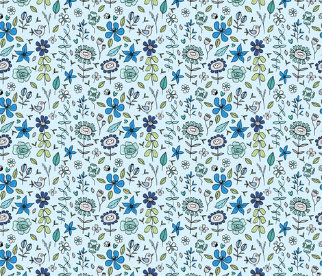 My dream garden blue fabric by by_adelroth on Spoonflower - custom fabric