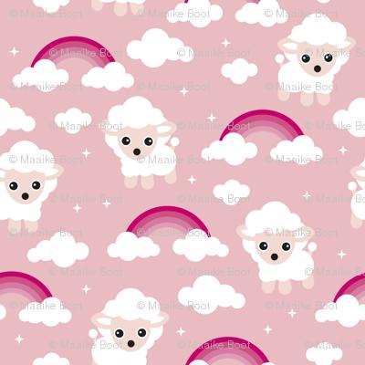 Good night, sleep tight counting sheep and rainbow dreams kids design pink