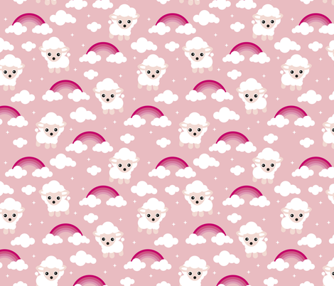 Good night, sleep tight counting sheep and rainbow dreams kids design pink fabric by littlesmilemakers on Spoonflower - custom fabric