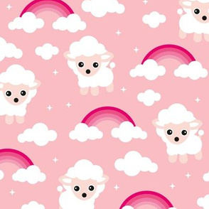 Good night, sleep tight counting sheep and rainbow dreams kids design pink