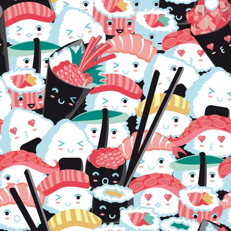 Kawaii Sushi Crowd  fabric by selmacardoso on Spoonflower - custom fabric