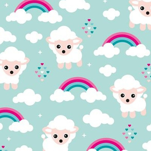 Good night, sleep tight counting sheep and rainbow love kids design pink