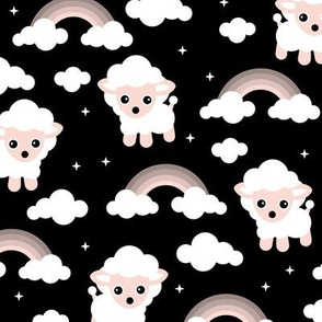 Good night, sleep tight counting sheep and rainbow dreams kids design black