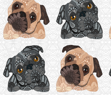 Pug Pattern  fabric by artlovepassion on Spoonflower - custom fabric