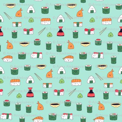 Mint blue kawaii sushi. Japanese food cute fabric design.