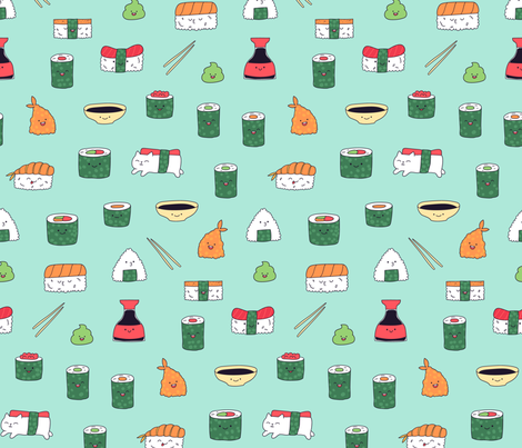 Mint blue kawaii sushi. Japanese food cute fabric design. fabric by kostolom3000 on Spoonflower - custom fabric