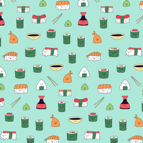 Mint blue kawaii sushi. Japanese food cute fabric design.