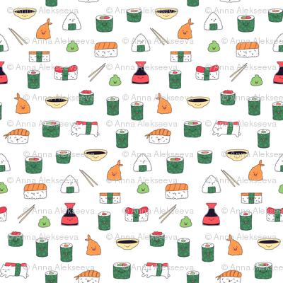 White kawaii sushi. Japanese food cute fabric design.