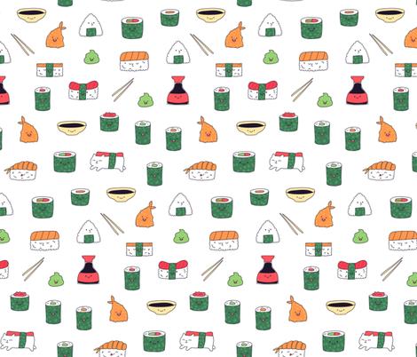 White kawaii sushi. Japanese food cute fabric design. fabric by kostolom3000 on Spoonflower - custom fabric