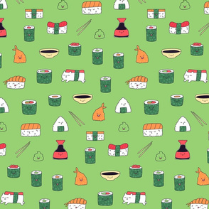 Green kawaii sushi. Japanese food cute fabric design.