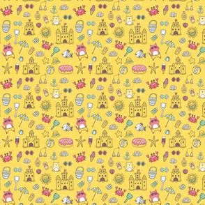 hot summer beach pattern with cat and sand castles