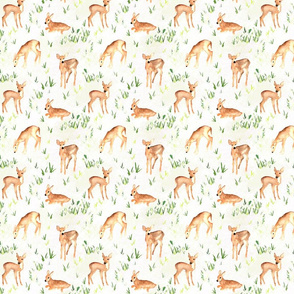 woodland fawns on greenery, taupe texture