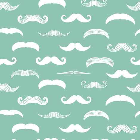 mustaches on aqua stone fabric by littlearrowdesign on Spoonflower - custom fabric